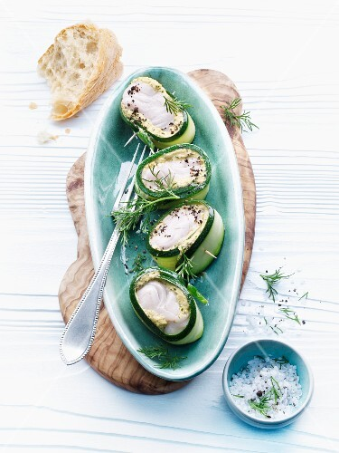 Courgette rolls with cod and a mustard sauce