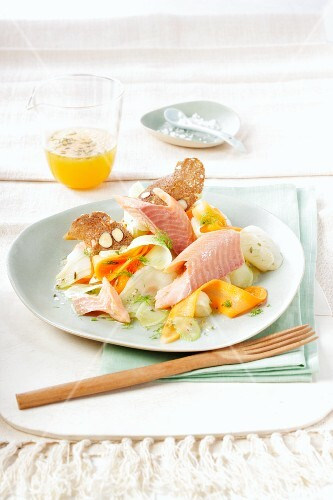 Fennel salad with trout fillet