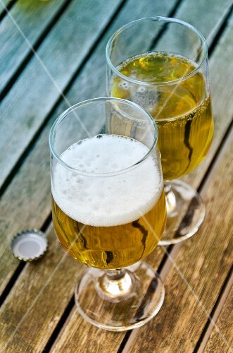 Beer glasses on a wooden table