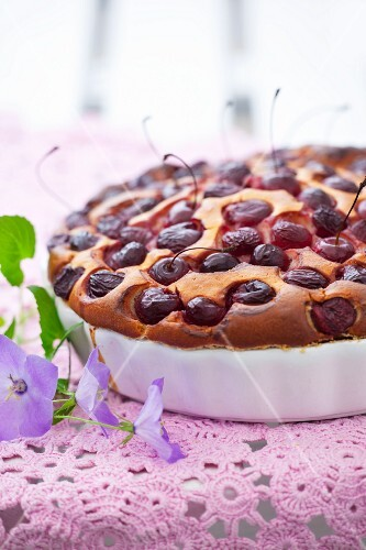 Cherry cake in a tart dish