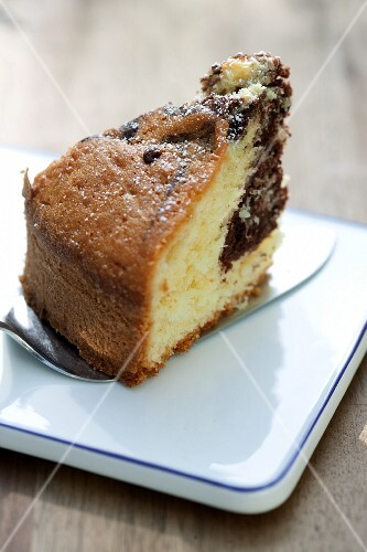 A slice of marble cake on a cake slice