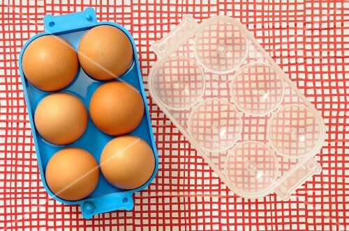 Six eggs in an egg box