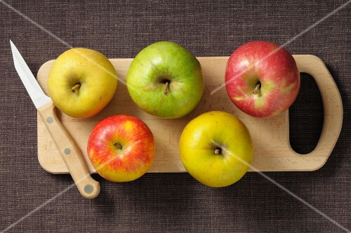 Assorted apples on a chopping board with a knife