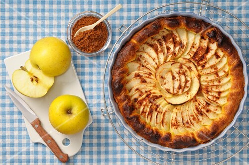 Apple tart with cinnamon, in the dish it was baked in