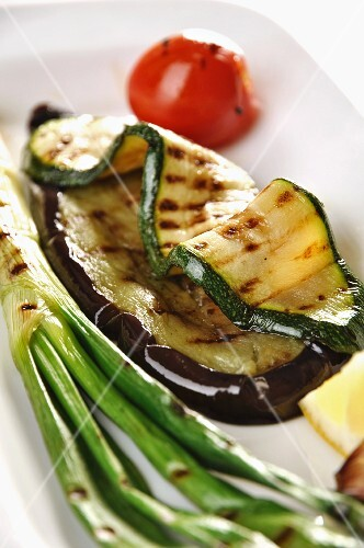 Barbecued vegetables on a serving plate