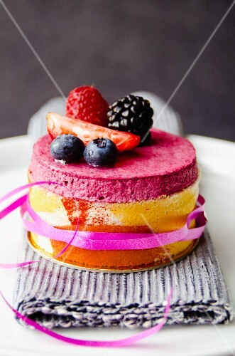 Mini berry mousse layer cake