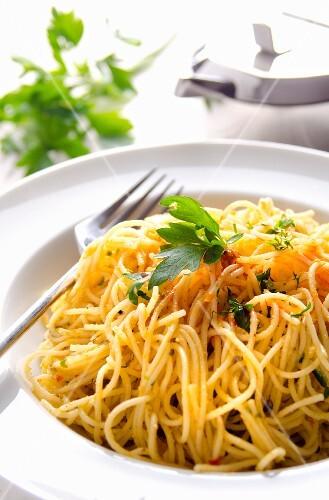 Capellini with lemon, parmesan and chilli