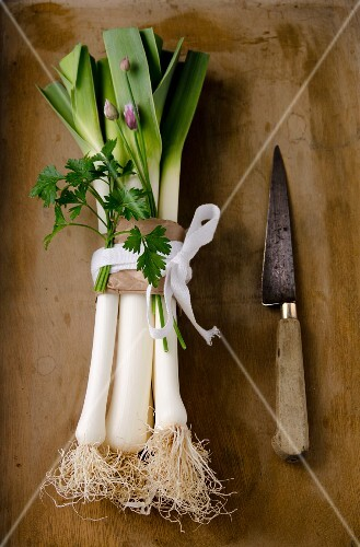 A bunch of leeks with chives and parsley