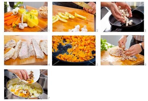 White chilli con carne being prepared