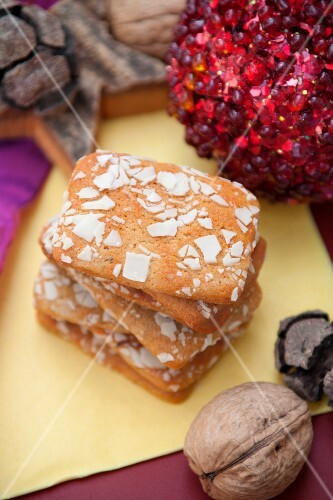 Spiced gingerbread biscuits with almonds, stacked