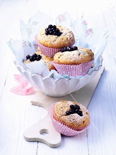 Several blueberry muffins