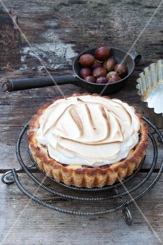 Gooseberry meringue cake