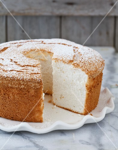 Angel Food Cake with a Slice Removed