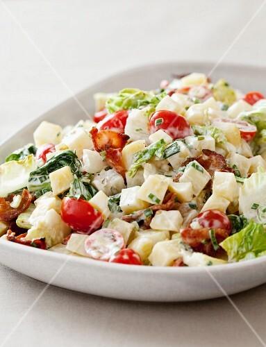 BLT Potato Salad in a White Serving Bowl