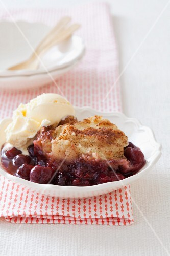 A Serving of Cherry Grunt with a Scoop of Ice Cream
