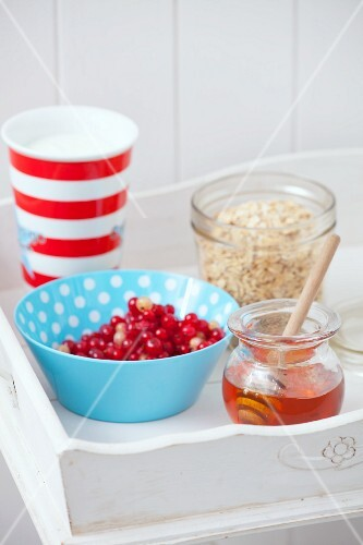 Ingredients for berry muesli with yoghurt and honey