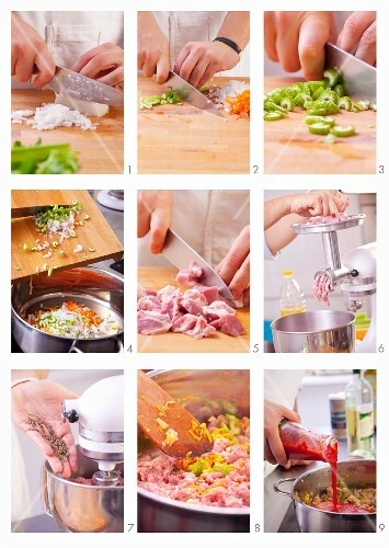 Preparing ingredients for making sausages