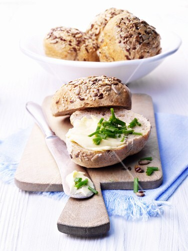 Whole grain rolls with butter and chives