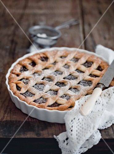Crostata (tart) with chocolate filling