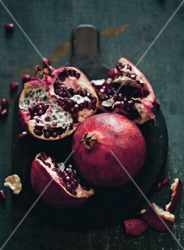 Pomegranate Broken Open to Expose Seeds