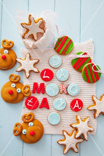 Various types of Christmas decorative cookies