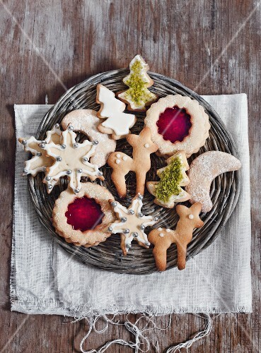 Assorted Christmas cookies on a wicker plate