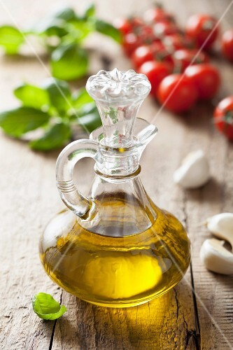Olive oil, garlic, basil and tomatoes