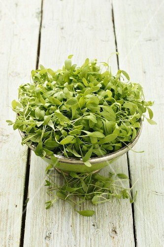 Fresh watercress in a bowl on a wooden surface