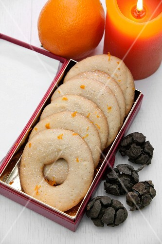 Orange sables (cookies) in a box