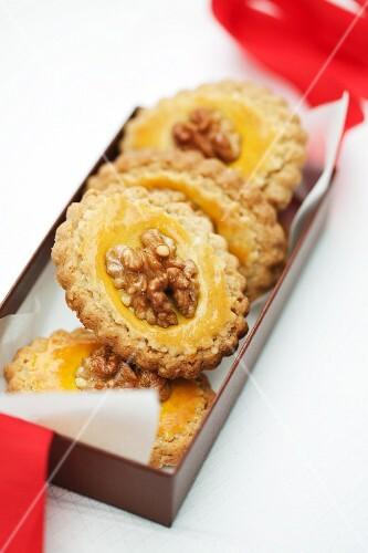 Walnut pangani (Italian butter cookies) in a gift box