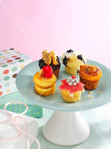Assorted cupcakes on a cake stand