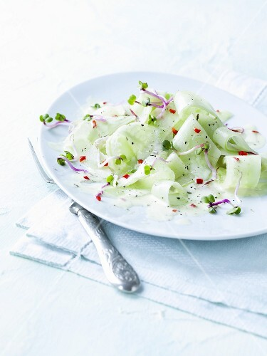 Cucumber salad with beetroot shoots and yoghurt & chilli dressing
