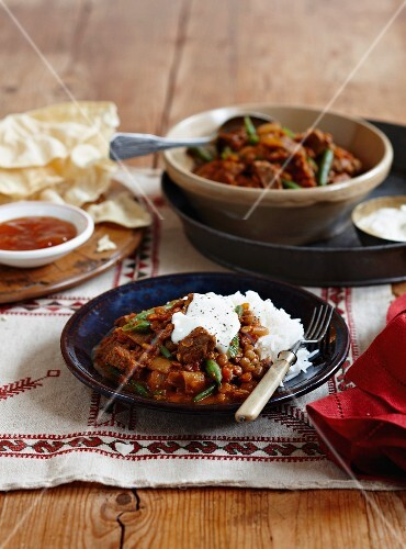 Lentil curry with beef
