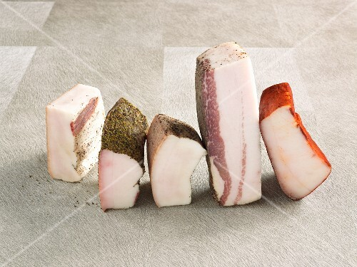 Chunks of various types of bacon