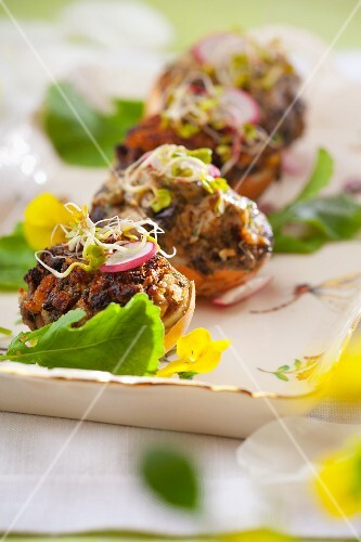 Eggs filled with mushrooms, radishes and edible shoots