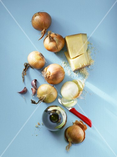 Ingredients for onion soup (view from above)