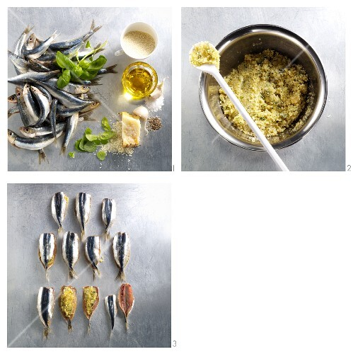 Making sardines with a herb filling