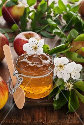 Jars of apple jelly