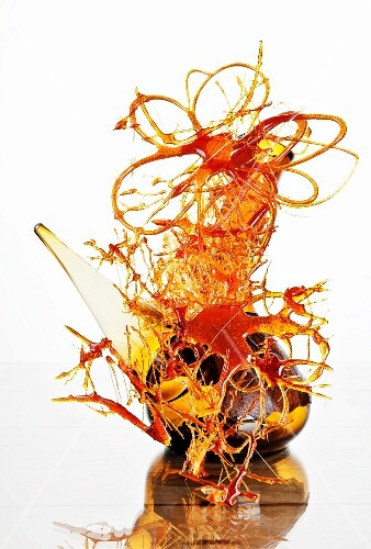 Flower-like spun caramel in a vase
