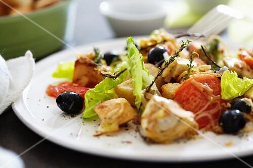 Artichoke salad with black olives