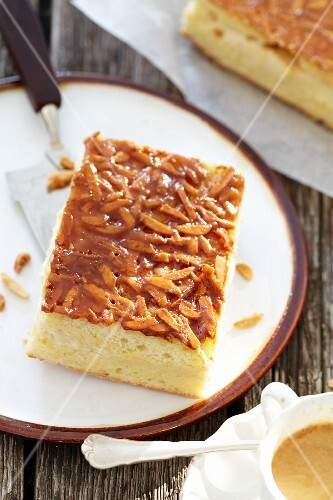 A piece of bee sting cake (Bienenstich)