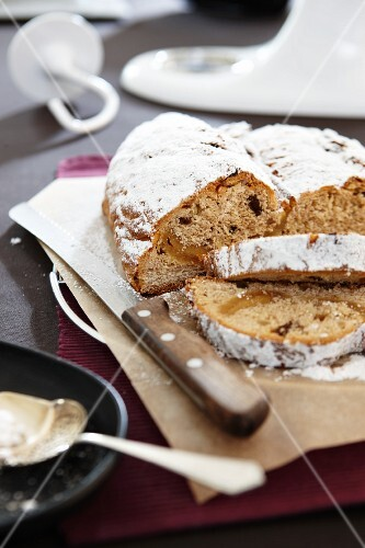 Stollen, partly sliced