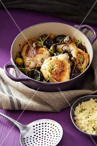 Chicken Marbella (chicken stew with olives and capers)