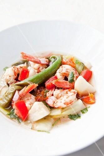 Prawn and potato stew with chillies
