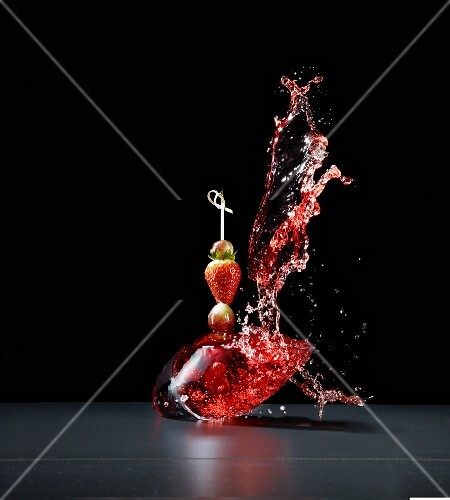 Fruit skewer with a splash of juice