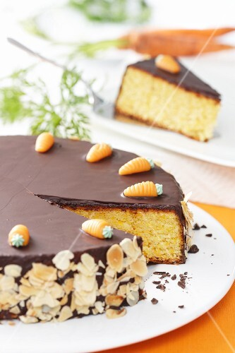 Carrot cake with chocolate coating