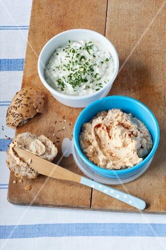 Obatzda (Bavarian cheese spread) with a bread roll