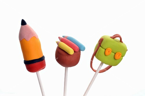Colourful cake pops with a school theme