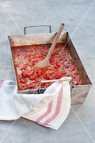 Tomato sauce in a roasting tin