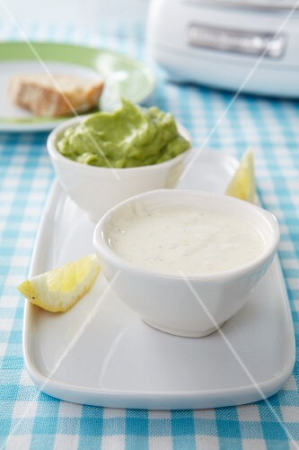 Lemon aioli and guacamole